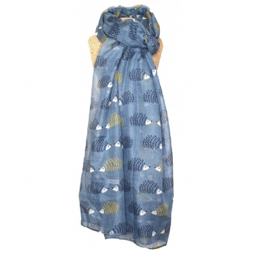 Lua Designs Hedgehog Print Scarf in Blue